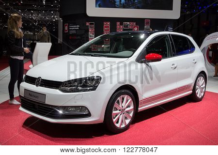 GENEVA SWITZERLAND - MARCH 1 2016: Volkswagen Polo Beats at the 86th International Geneva Motor Show in Palexpo Geneva.