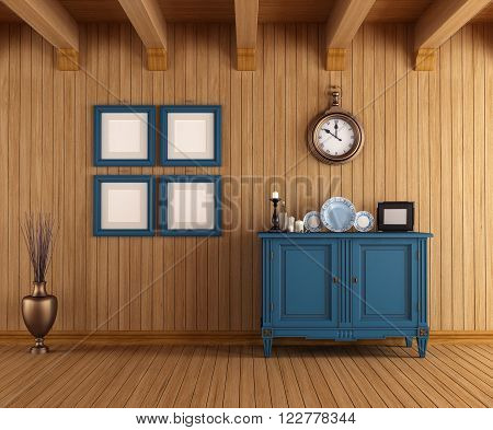 Wooden interior of a country house with vintage dresser - 3drendering
