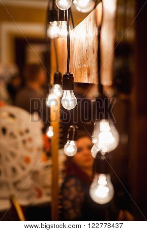 Vintage Electric Lamps Scenery With Wooden Planks