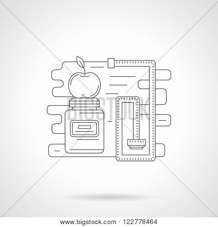 Apple on a sport supplements plastic jar and measuring tape. Sport nutrition, diet and fitness. Single detailed flat line style vector icon. Web design elements for business, site, mobile app.