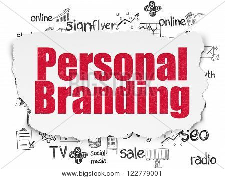 Advertising concept: Personal Branding on Torn Paper background