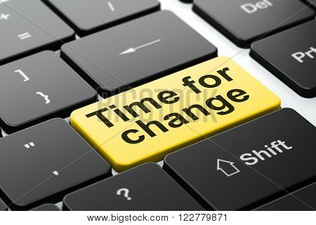 Timeline concept: Time for Change on computer keyboard background