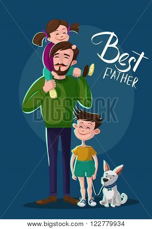 Happy young father with a daughter son and a dog. Cartoon vector illustration