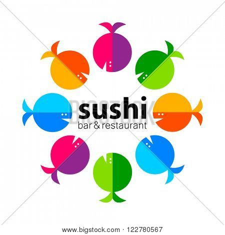 Sushi logo. Sushi bar restaurant design element. Sushi food,  sashimi, japanese food, sushi fish, sushi chef, sushi menu, japanese restaurant. Vector illustration.