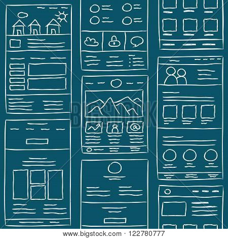 Hand drawn website layouts. doodle style seamless pattern