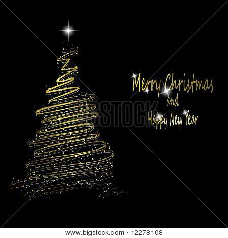 Golden Christmas  Tree Made From Gold Ribbons And Stars On Black Background