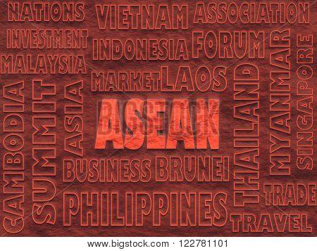 ASEAN asia international union relative words cloud image