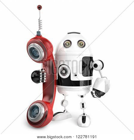 3d Robot with red phone tube. Telecommunication concept.  Isolated. Contains clipping path