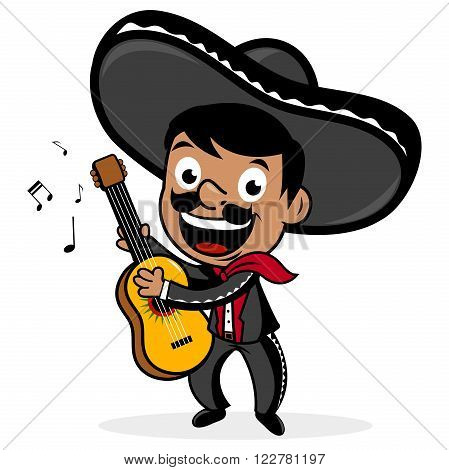 Mexican mariachi man wearing a sombrero, smiling, singing and playing the guitar.