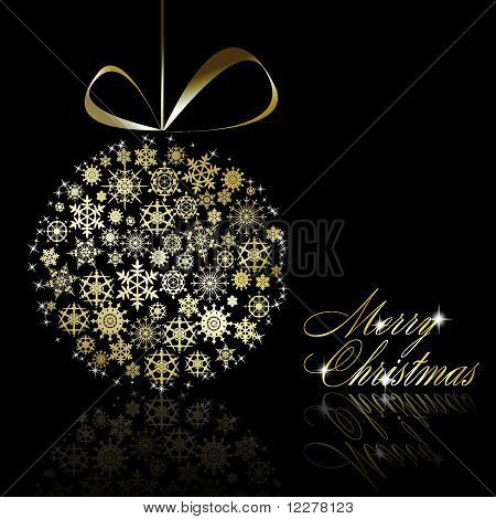 Golden Christmas  Ball Made Of Gold Snowflakes With Stars On Black Background