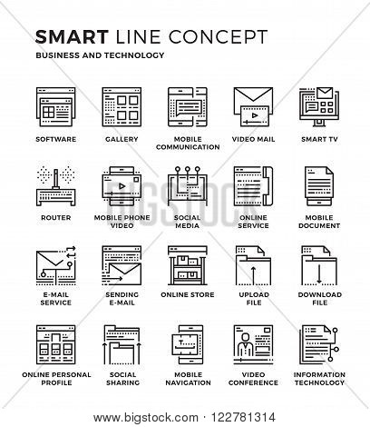 Set of modern thin line icon collection concept of Business Concept , Technology , E-mail Service , Social Media. Pixel perfect icon design for Web Graphic , Mobile app ,Vector Design illustration.