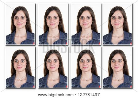 Identification photo of a woman for passport identity card