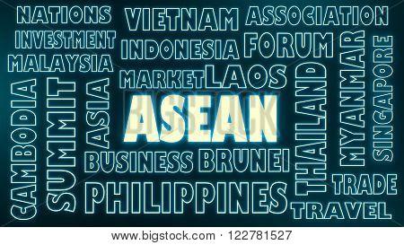 ASEAN asia international union relative words cloud image. Neon shine