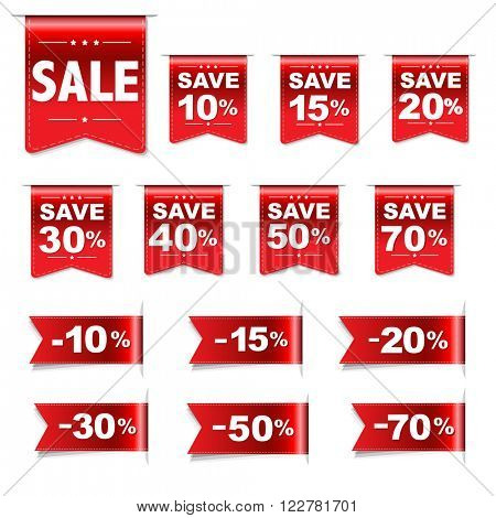 Discount Red Labels Set, Vector Illustration