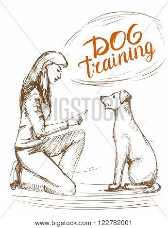 Dog training. Girl teaches the dog to sit. Hand drawn vector illustration.
