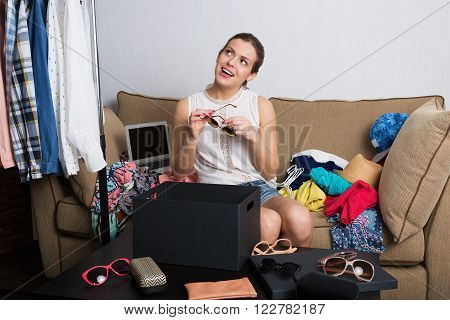 Shopaholic Woman And Her Wardrobe
