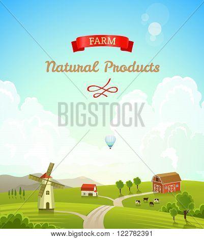 Farm rural landscape. Farm background. Vector illustration