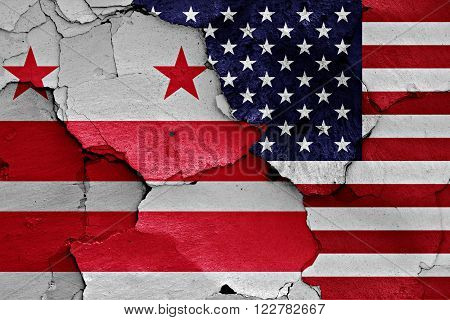 Flags Of District Of Columbia And Usa Painted On Cracked Wall