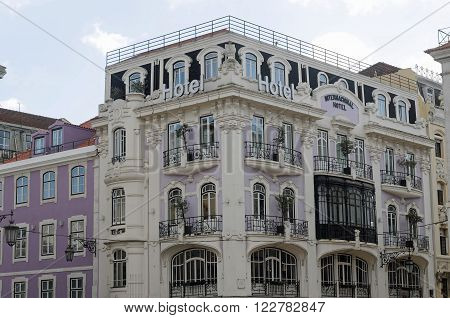 LISBON, PORTUGAL - FEBRUARY 15: facade of building in the center of Lisbon, known as Baixa