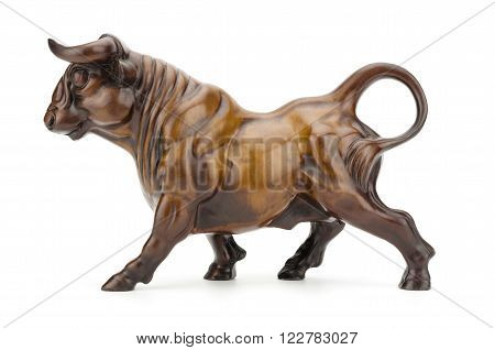 Bull sculpture isolated on white background clipping path