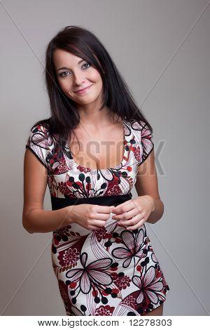 Brunet Girl In Color Dress