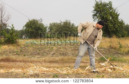DIKANKA UKRAINE - SEPTEMBER 30 2015: Country farmer working in the field raking crop residues with the help of a rake