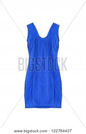 Blue sleeveless mini dress isolated over white