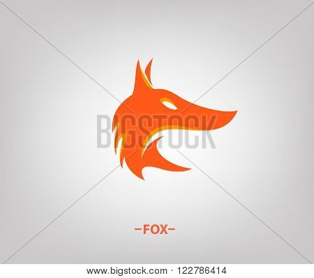 Vector image of an fox head on white background.  Template Logo. Fox logo.