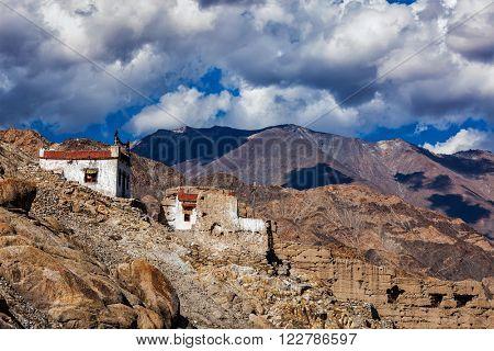 Village house in Himalayas. Shey, Ladakh, India