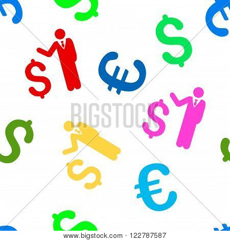 Banker vector repeatable pattern with dollar and euro currency symbols. Style is flat colored icons on a white background.