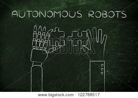 Human And Robot Hands Solving A Puzzle, Autonomous Robots