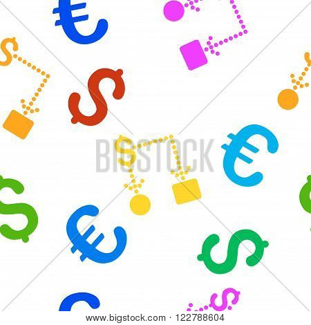 Cashflow vector repeatable pattern with dollar and euro currency symbols. Style is flat colored icons on a white background.