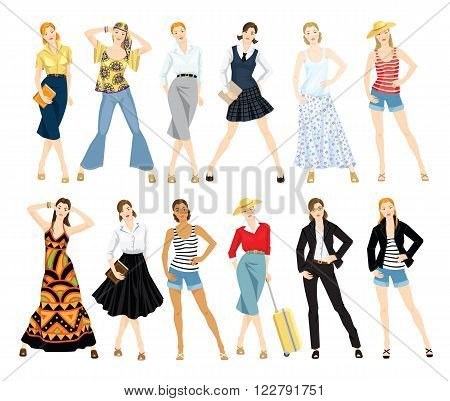 Collection of women in different clothes. Young girls in expression pose isolated on white background.