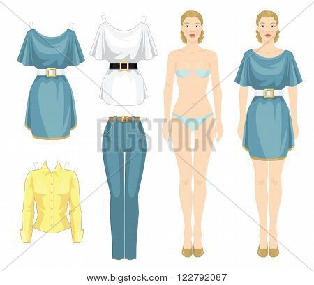 Paper doll with clothes. Body template. Set of template paper clothes. Clothes for holiday. Pretty girl in elegant light blue dress with white belt.
