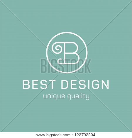 Letter B in the sign on turquoise background monogram flat style art