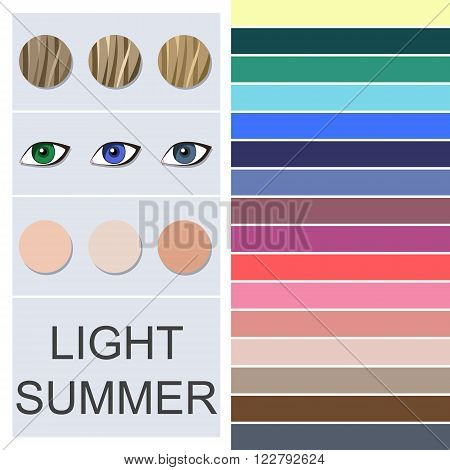 Stock vector seasonal color analysis palette for light summer type. Type of female appearance