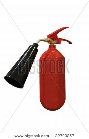 Dry chemical fire extinguisher on white background with clipping path