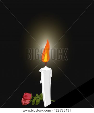Mourning. Mourning Figure White Candle And Flowers. Darkness And Fire Candles