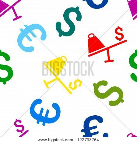 Market Price Swing vector repeatable pattern with dollar and euro currency symbols. Style is flat colored icons on a white background.