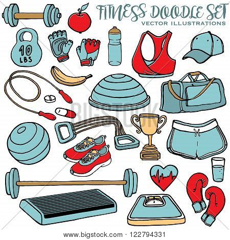 Hand drawn fitness doodle set. Sport clothes dumbbell fitball gloves scales step and cup. Multicolor vector illustration