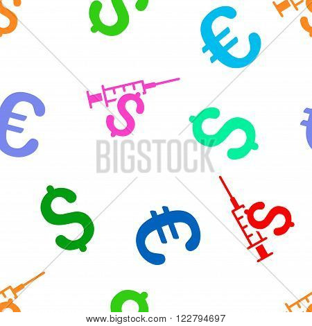 Narcotic Business vector repeatable pattern with dollar and euro currency symbols. Style is flat colored icons on a white background.