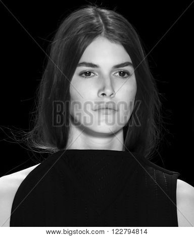 New York City, USA - February 16, 2016: Vanessa Moody walks the runway during the Vera Wang Women's show as a part of Fall 2016 New York Fashion Week