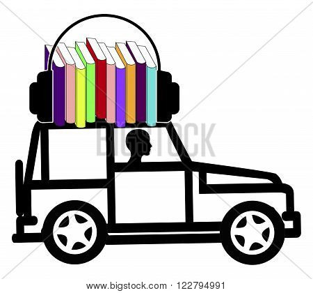 Audiobooks while driving. Concept sign of a female driver who makes use of the time by listening to talking books