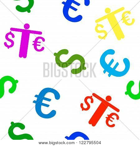 Person Compare Euro Dollar vector repeatable pattern with dollar and euro currency symbols. Style is flat colored icons on a white background.