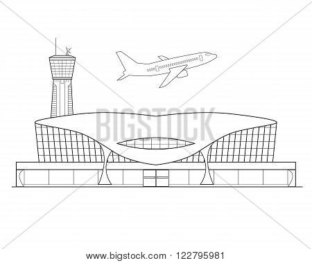 Thin line flat design. Airplane takes off from the airport on a beautiful white background isolated. Vector illustration
