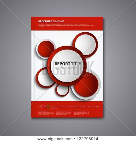 Brochures book or flyer with abstract red circles template vector eps 10
