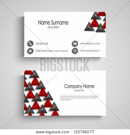 Business card with abstract triangles template vector eps 10