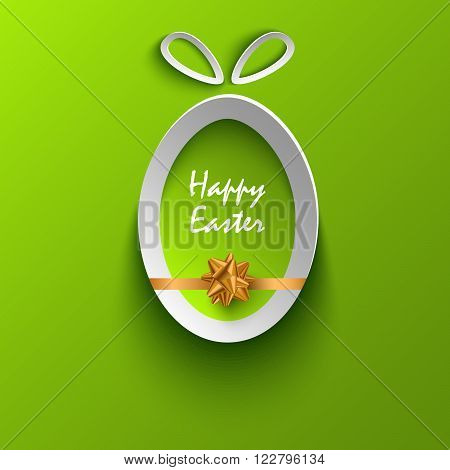 Easter card with abstract cut out egg template vector eps 10