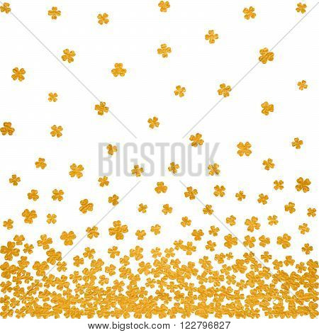 Horizontal gold seamless pattern for St. Patricks day from the falling clover leaves on white background. Design for banner, card, invitation, postcard, textile, wrapping paper. Vector illustration.