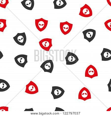 Alien Protection vector seamless repeatable pattern. Style is flat red and dark gray alien protection symbols on a white background.